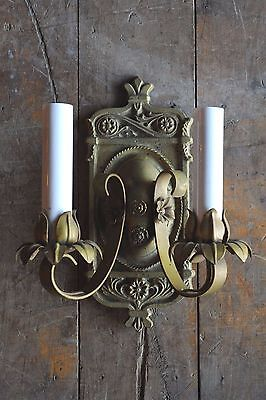 Antique gold painted brass double arm wall sconce circa 1920s