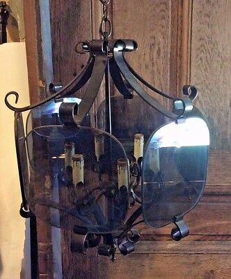 large antique 6 candle chandelier with glass panels