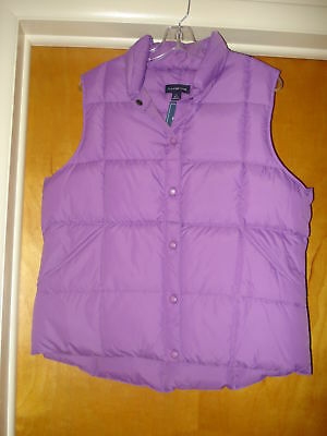 NWT New Women's Lands' End Size Large 14-16 Purple Puffy Down Filled Vest
