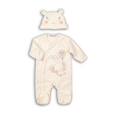 Unisex Baby Luxury Velour Sleepsuit & Hat Set (Newborn - 6 Months)