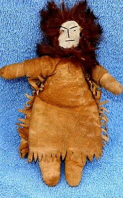 Early Antique Native American Indian Doll with Rabbit Fur Hair Buckskin