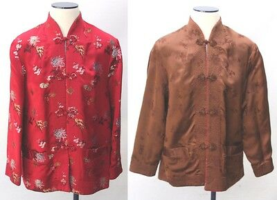 Womens Chinese Satin Embroidered Reversible Red Brown Floral Jacket Coat Sz L