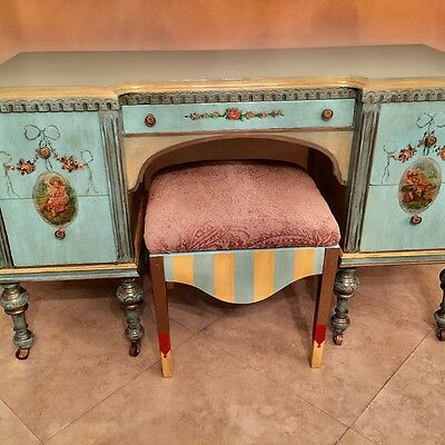 Antique hand painted soft colors, dove tail drawers 1800's. desk or vanity i