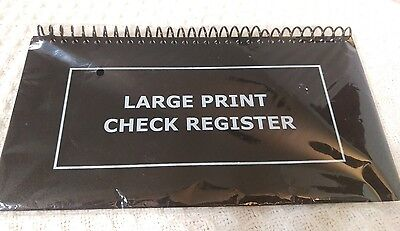 NEW Large Print Spiral Bound Check Register Book For Easy Transaction Reference