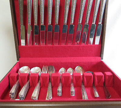 Wallco Sectional A1+ Roseanne Silver Plate 52 pc Flatware Set Service For 12