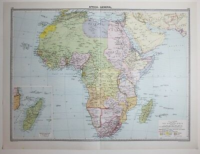 1920 Large Map Africa Cape Colony Madagascar Mozambique Angola Abyssinia