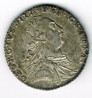 1787 George III sterling silver sixpence 6d coin - 3.1g - with hearts
