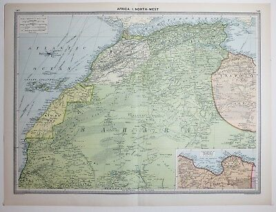 1920 Large Map Africa North West Sahara Rio De Oro Canary Islands Morocco
