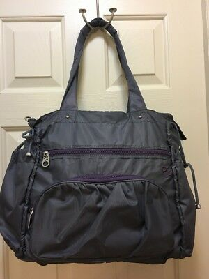 Rare Earth Tote Bag Gray And Purple Nylon Excellent Condition
