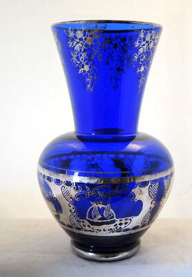 TALL 1930s SILVERED VENETIAN BLUE GLASS VASE CRINOLINE LADIES & TOWNSCAPES #12