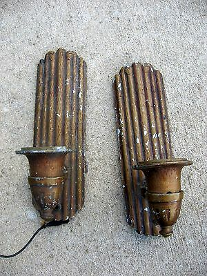 2 Art Deco Single-Candle Wall Sconce    Rustic Cabin Look