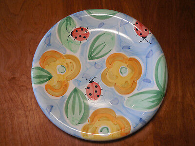 "Bella BACKYARD FRIENDS Set of 7 Dinner Plates 10 1/2"" Bees Ladybugs Flowers"