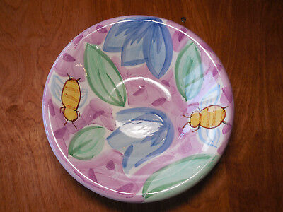 "Bella BACKYARD FRIENDS Set of 5 Soup Salad Bowls 8 3/4"" Bees Ladybugs Flowers"