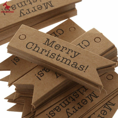 100PCS Merry Christmas Kraft Paper Hang Tags Party Favor Label Gift Cards
