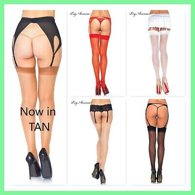 Leg Avenue 1000 Sheer Backseam Thigh high Nylon stockings Black Nude Red White