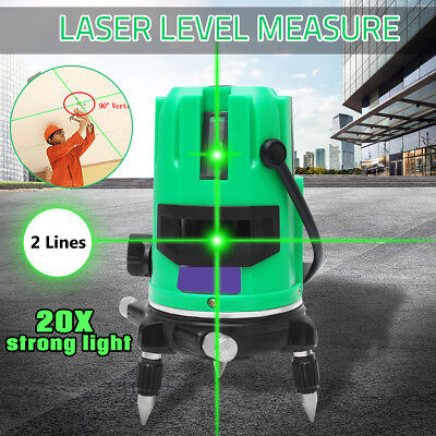 20 Times Light Green Laser Level 2 Line Self Leveling Outdoor 360° Cross Measure
