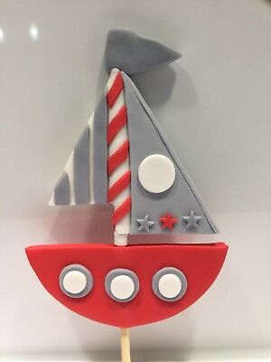 3D Boat Yacht Edible Baby Shower Topper Children Birthday Cake Fondant