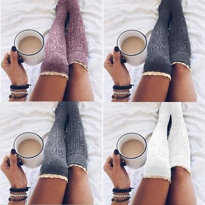 US Women Winter Cable Knit Over knee Long Boot Thigh-High Warm Socks Leggings