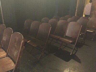 Vintage Theater Seats - Foldable Row of 4 - From at least the 1940's