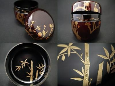Japanese Lacquer Wooden Tea Caddy PINE, PLUM, AND BAMBOO makie O-Natsume (904)