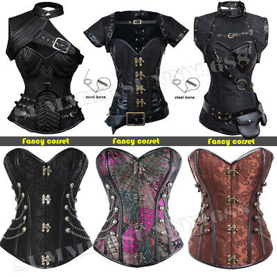 Women Overbust Steampunk Plus Size Dress Corset Bustier Top SEXY Lingerie Shaper
