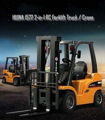 HUINA 1577 2-in-1 RC Forklift Truck Crane Car 2.4GHz 8CH Auto LED Extra Battery