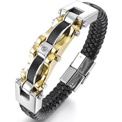 MENDINO Men's Stainless Steel Leather Bracelet Braided Carbon Fiber Biker Gold