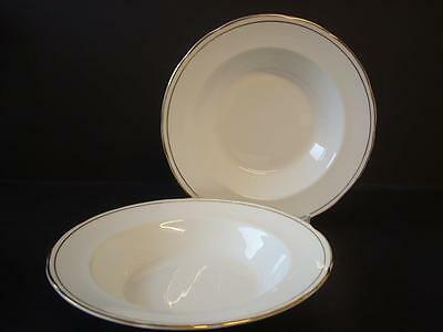 "Duchess China Ascot 2 X Rimmed Soup / Dessert Bowls 8.5""  White & Gold"