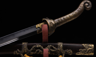 Collectable Handmade Chinese Sword Tiger Dao Clay tempered Folded Steel Fine