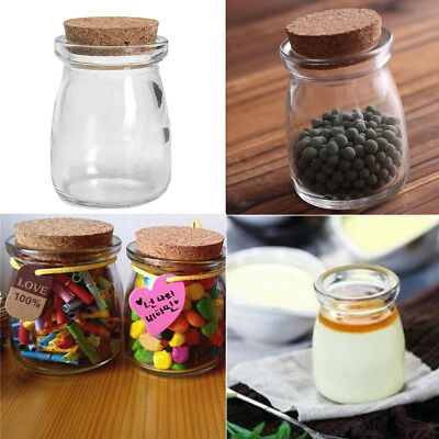 5/10x Clear Candy Jam Yogurt Glass Vial Storage Bottle Container + Cork Stopper