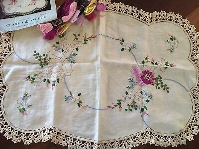 Fautleys Vintage Traced Linen Edged Orchid Centrepiece Doily Complete Embroidery