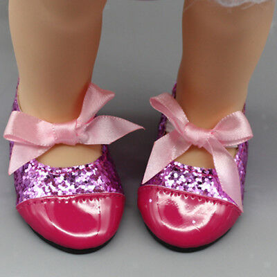Dolls Sequin Bow Strap Shoes Sneakers Flats for 17'' Zapf Baby Born Doll Acc