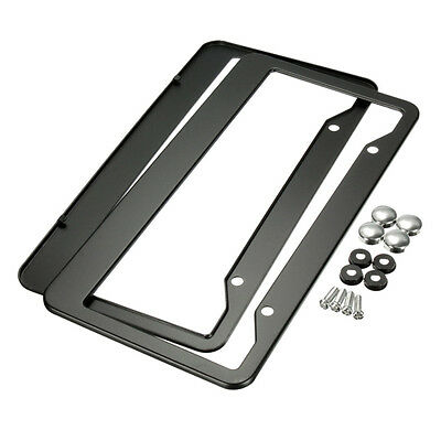 2 Pcs License Plate Black Metal Stainless Steel Frames Screw Caps Tag Cover