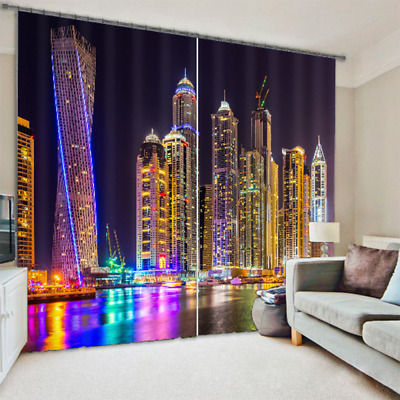 City Night Scenic Neon 3D Photo Printing Curtains Mural Blockout Drapes Fabric