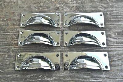 Set Of 6 Art Deco Style Chrome On Brass Cup Furniture Handle Drawer Pull Wh8