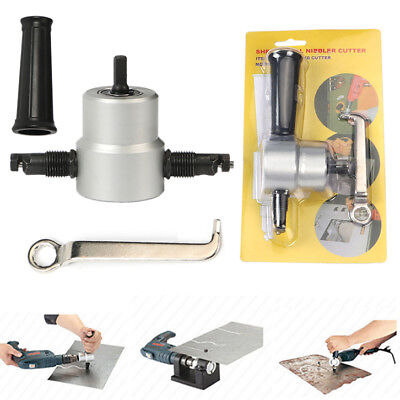Double Head Sheet Metal Nibbler Cutter Holder Tool Power Drill Attachment Kit