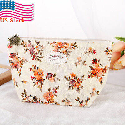 Floral Cosmetic Makeup Case Travel Toiletry Holder Organizer Pouch Bag Beauty US