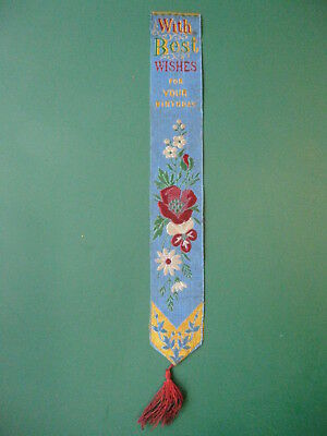 Stevengraph silk bookmark WITH BEST WISHES Thomas Stevens book mark