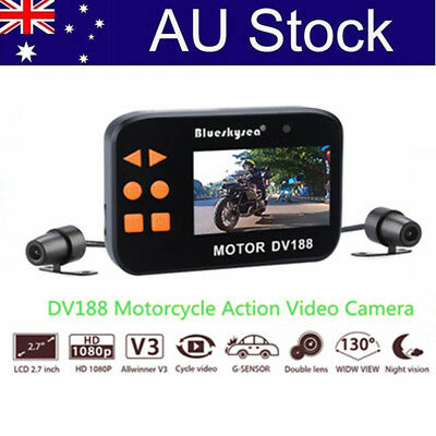 1080p FHD Motorcycle Twin Camera Motorbike Dual FHD Dash Cam Video Recorder DV