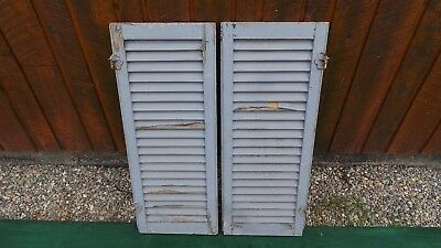 """VINTAGE Old 2 SHUTTERS Wooden 35"""" long x 14"""" Wide Architectural Salvage"""