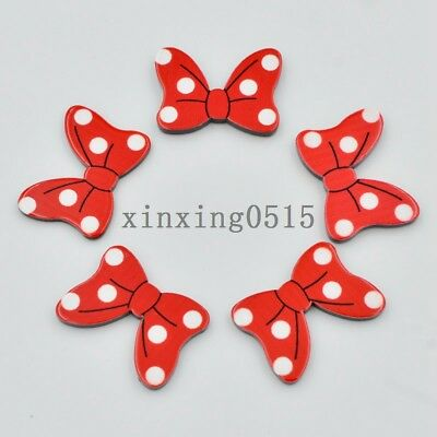 10pcs hand painting Dot red bow Flatback acrylic sheets/Children scrapbook craft