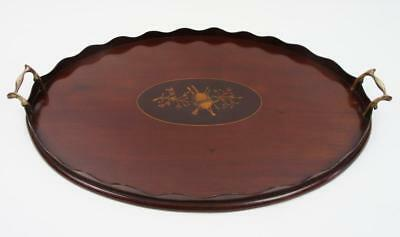 Lovely Edwardian oval scalloped, Mahogany butlers or drinks tray 58cm x 40cm