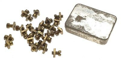 Meccano Erector Construction 37a 37b 2x25pc Brass Nuts Bolts in Vintage Keeper B