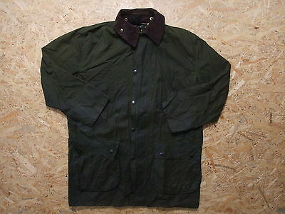Men's Barbour Border Green Waxed Jacket Size C42 / 107cm Genuine Casual