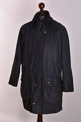 Men's Barbour Border Navy Jacket Size C38 / 97cm Genuine Casual Waxed