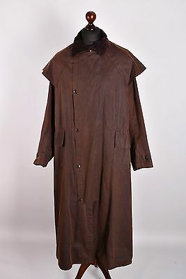 Men's Barbour Stockman Brown Long Jacket Size L Genuine Waxed
