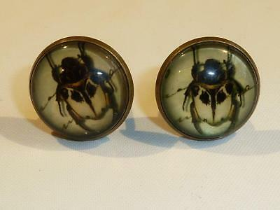 Bronze Plated Cufflinks - Beetle - Gift Bag - Free Uk P&p..................w1772