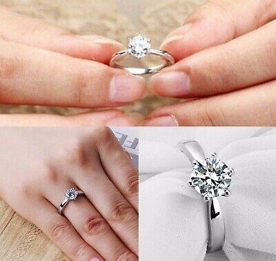 Silver Plated Steel Cubic Zirconia CZ Womens & Girls Engagement Solitaire Ring