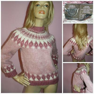Vintage Pink Cream Icelandic Style Pure Wool Hand Knit Sweater Jumper S M Scots