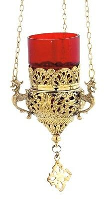 Orthodox Oil Lamp With Chain Church Hanging Greek Byzantine Brass 9503B